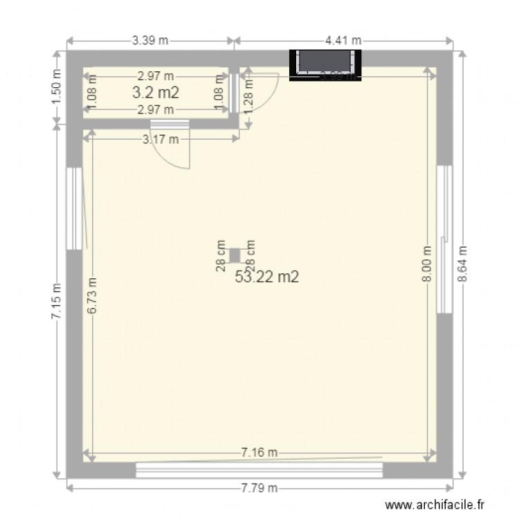 salon cuisine ouverte - Plan 2 pièces 56 m2 dessiné par Thierry007