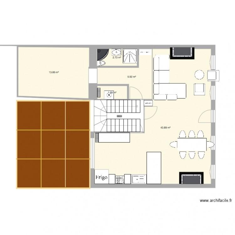 maison monplaisir plan 5 pi ces 68 m2 dessin par jeannebourgon. Black Bedroom Furniture Sets. Home Design Ideas