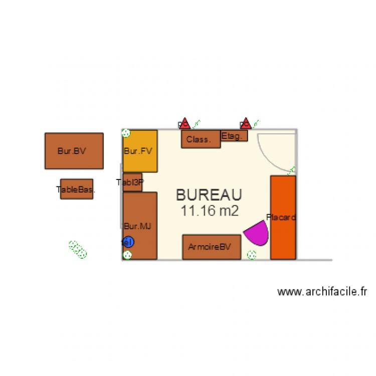 Bureau 11 05 2015 plan 1 pi ce 11 m2 dessin par pinceau351 for Nombre de m2 par personne bureau