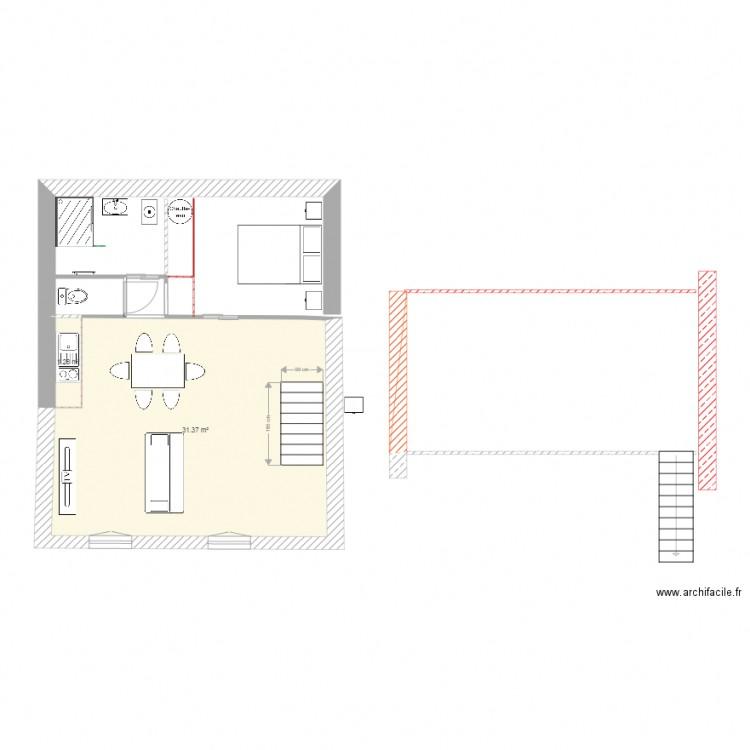 studio avec mezzanine - Plan 2 pièces 33 m2 dessiné par elie valen