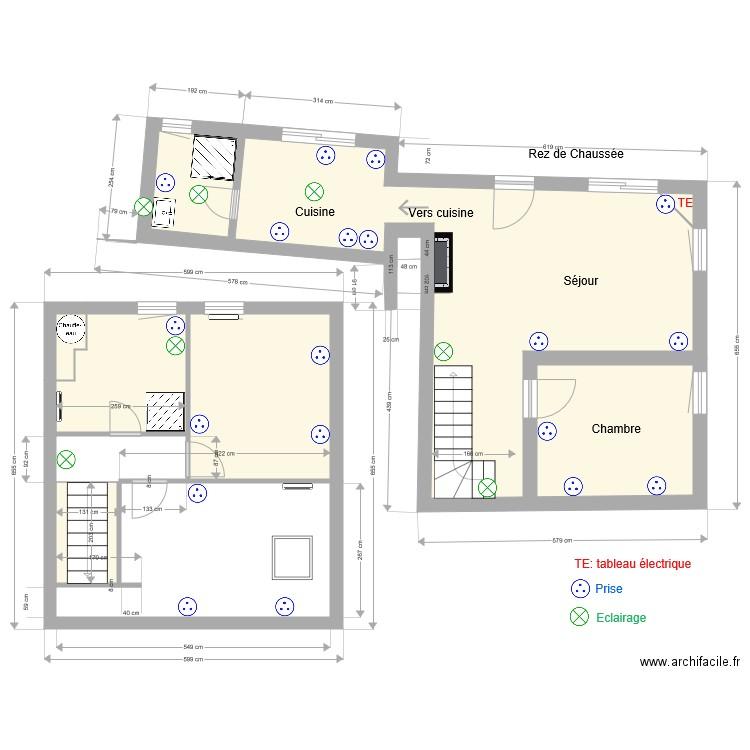 petite maison le v lectricit plan 6 pi ces 58 m2. Black Bedroom Furniture Sets. Home Design Ideas