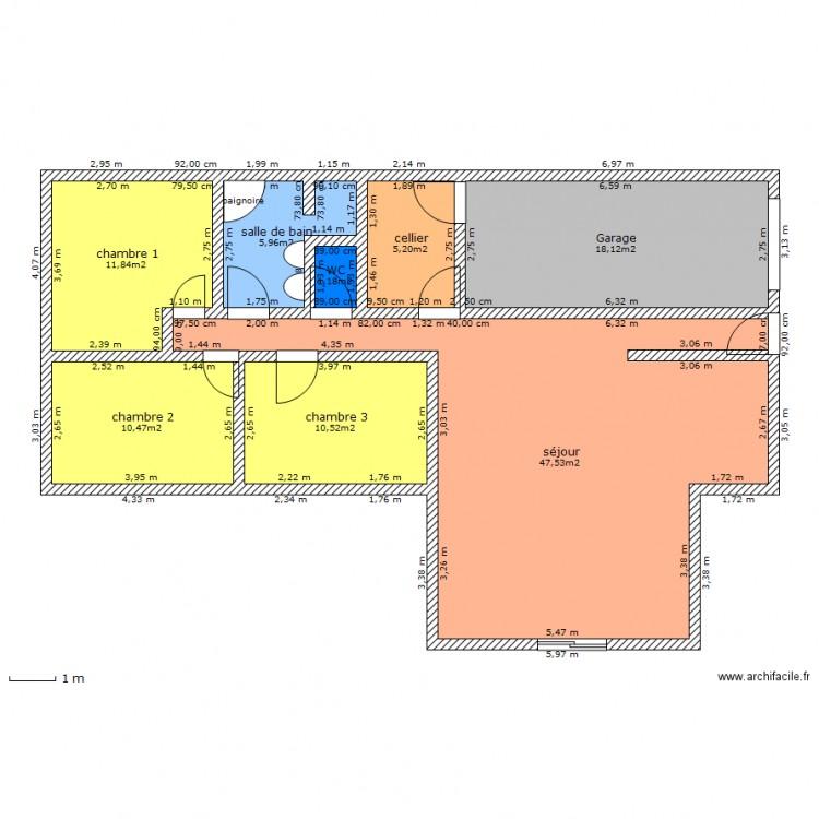 maison en t plan 1 plan 8 pi ces 111 m2 dessin par. Black Bedroom Furniture Sets. Home Design Ideas