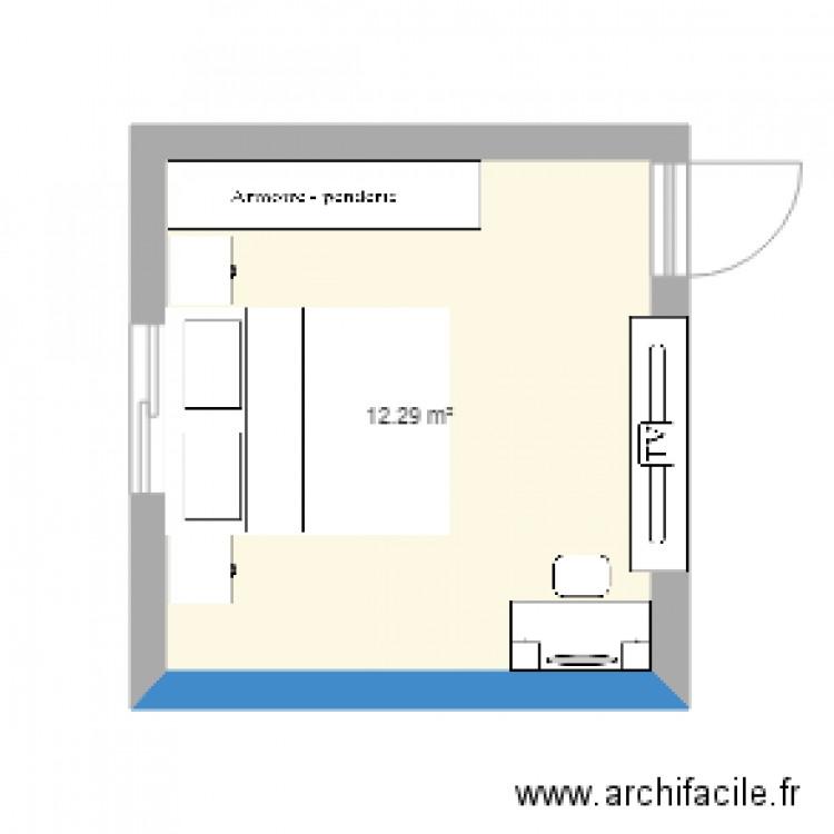 Chambre 1 plan 1 pi ce 12 m2 dessin par rafiklamri for Chambre one piece