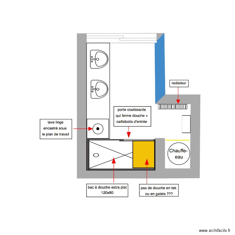 salle de bain plan 1 pi ce 7 m2 dessin par saitelle. Black Bedroom Furniture Sets. Home Design Ideas