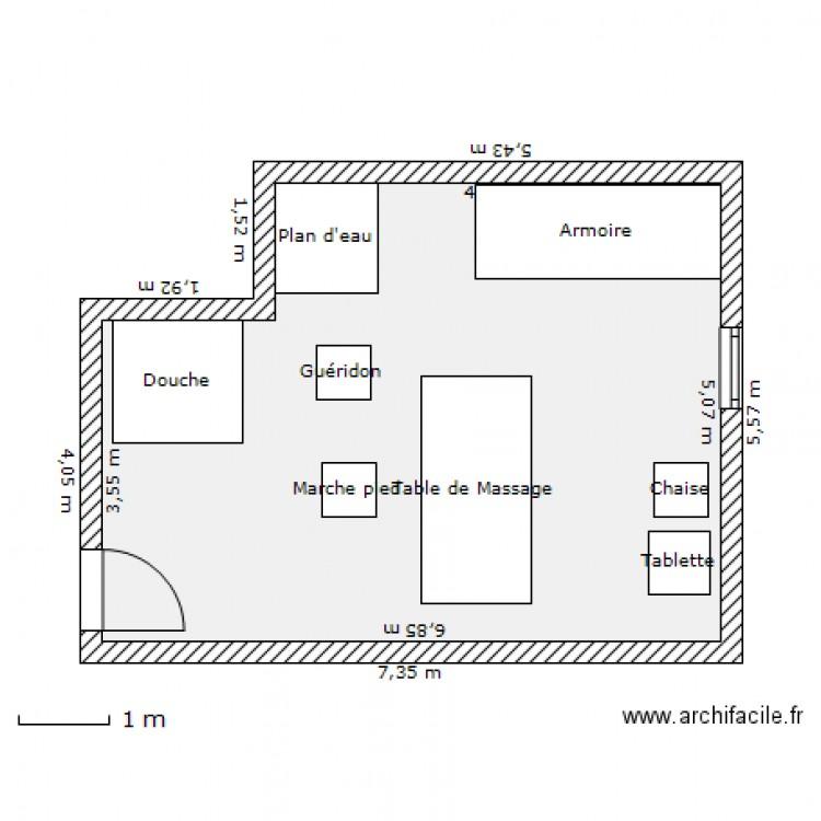 Cabine soin corps refaite plan 1 pi ce 32 m2 dessin par for Plans de cabine gratuits