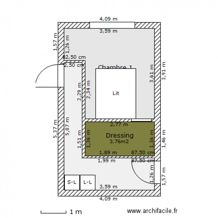 Amenagement garage plan 3 pi ces 22 m2 dessin par greg8576 for Petite suite parentale