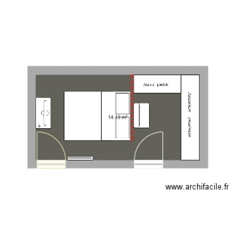 Chambre projet plan 1 pi ce 14 m2 dessin par nono59820 for Chambre one piece