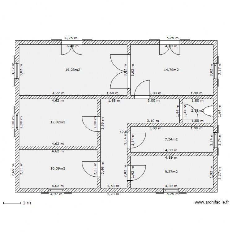 Maison landaise 1 plan 8 pi ces 90 m2 dessin par flanker for Plan maison landaise