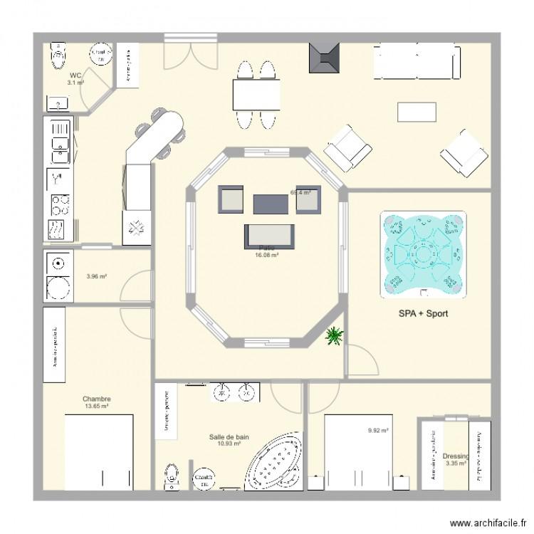 Maison Avec Patio Central Plan 8 Pieces 160 10