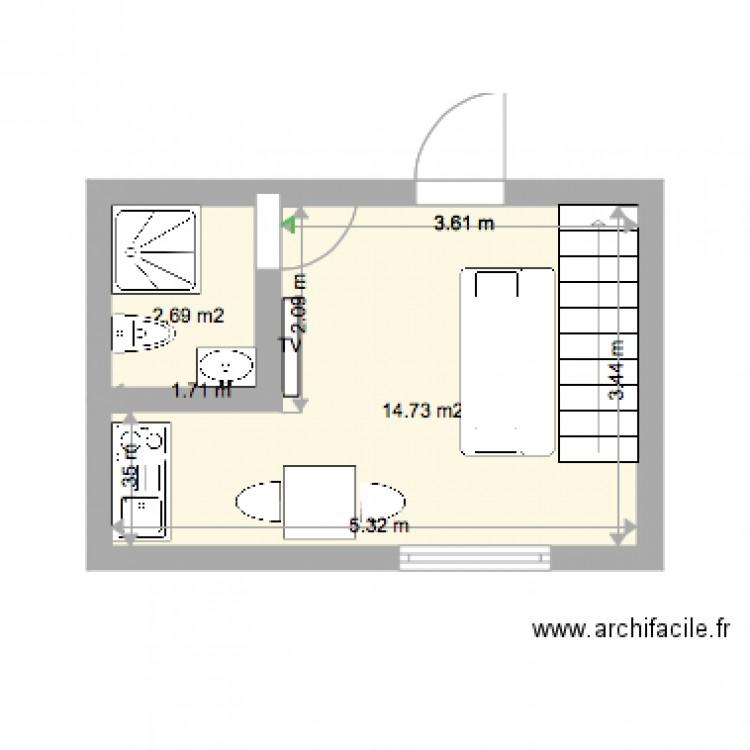 studio etage droitr plan 2 pi ces 17 m2 dessin par steevemadgic04. Black Bedroom Furniture Sets. Home Design Ideas