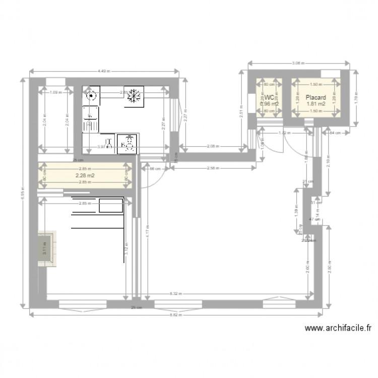 B9 projet cuisine dans bureau plan 3 pi ces 5 m2 dessin for Nombre de m2 par personne bureau