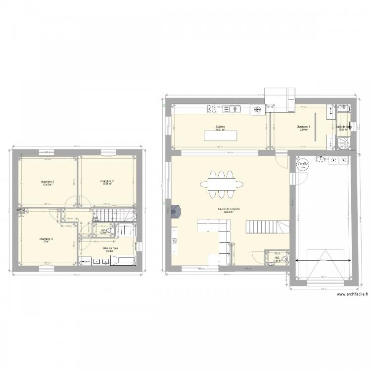 plan maison 2 plan 12 pi ces 140 m2 dessin par la. Black Bedroom Furniture Sets. Home Design Ideas
