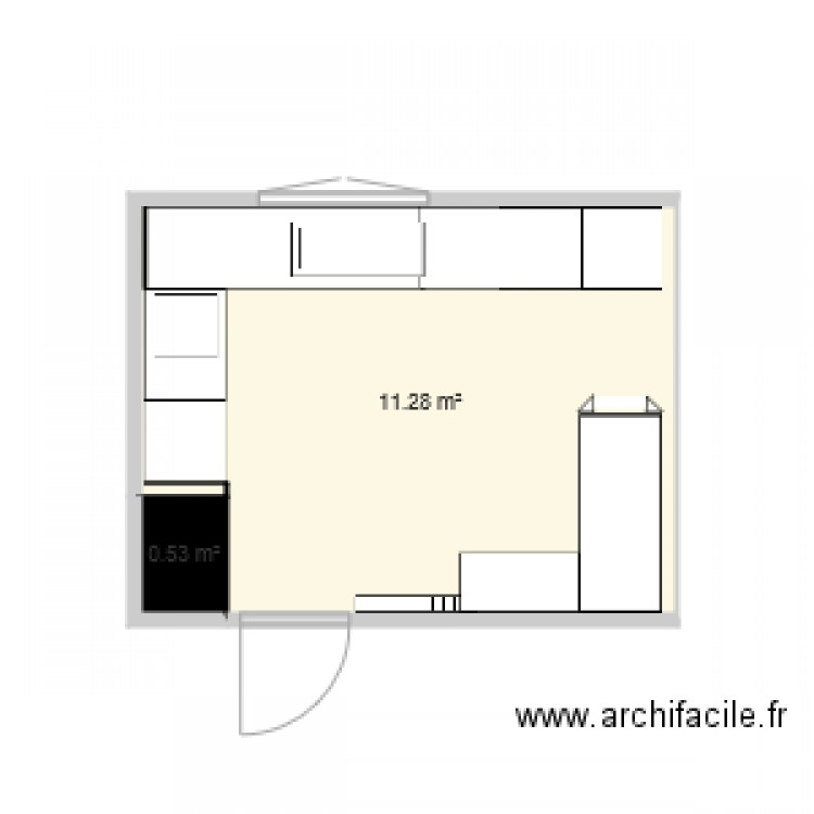 cuisine plan 2 pi ces 12 m2 dessin par guillaume76. Black Bedroom Furniture Sets. Home Design Ideas