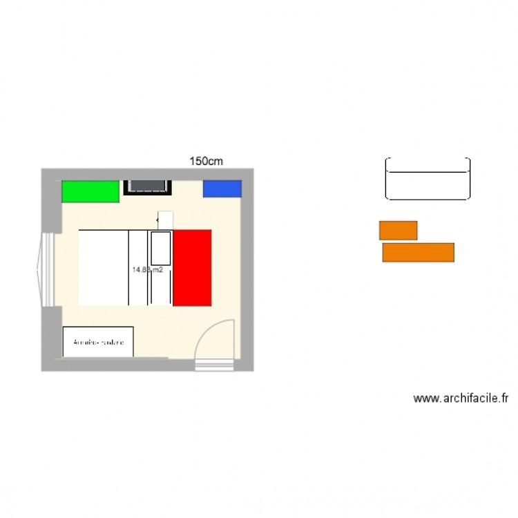 chambre lit milieu plan 1 pi ce 15 m2 dessin par micmacmoc. Black Bedroom Furniture Sets. Home Design Ideas