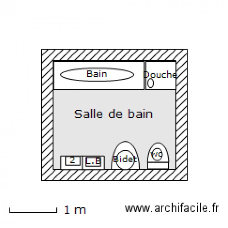 salle de bain plan 1 pi ce 6 m2 dessin par benjaminfct. Black Bedroom Furniture Sets. Home Design Ideas