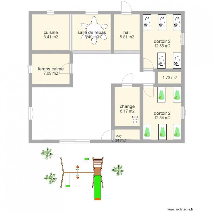 Micro creche les petites truffes plan 9 pi ces 65 m2 for Objectif atelier cuisine en creche