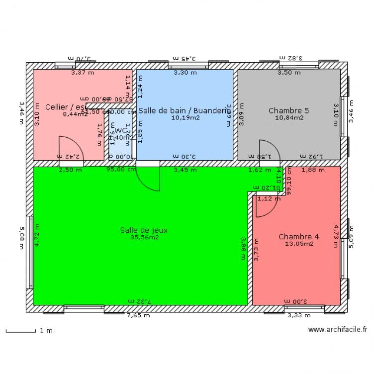 Am nagement du sous sol plan 6 pi ces 80 m2 dessin par for Plan sous sol