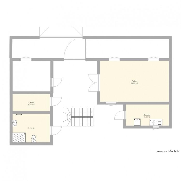 testmaison1rdc plan 4 pi ces 47 m2 dessin par bss1. Black Bedroom Furniture Sets. Home Design Ideas