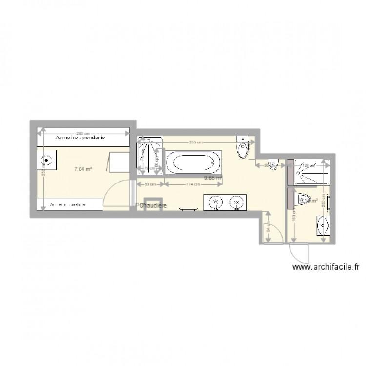 Salle de bain plan 4 pi ces 20 m2 dessin par guillaume151 for Salle de bain 4 m2