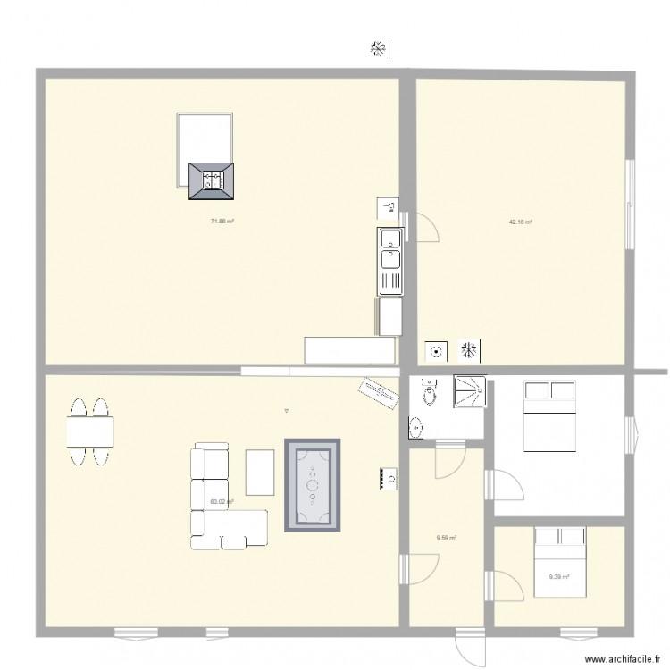 maison 2 plan 5 pi ces 196 m2 dessin par peggy44. Black Bedroom Furniture Sets. Home Design Ideas