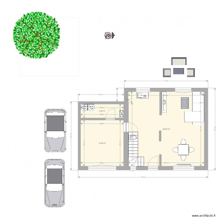 maison plan 3 pi ces 60 m2 dessin par manux77. Black Bedroom Furniture Sets. Home Design Ideas