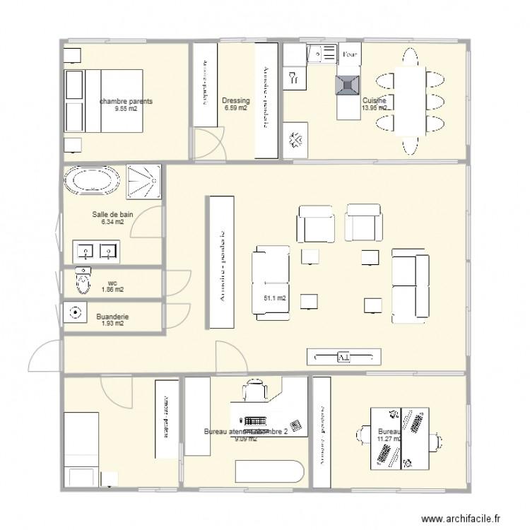 Test1 120 plan 9 pi ces 112 m2 dessin par tecro - Plan appartement 120 m2 ...