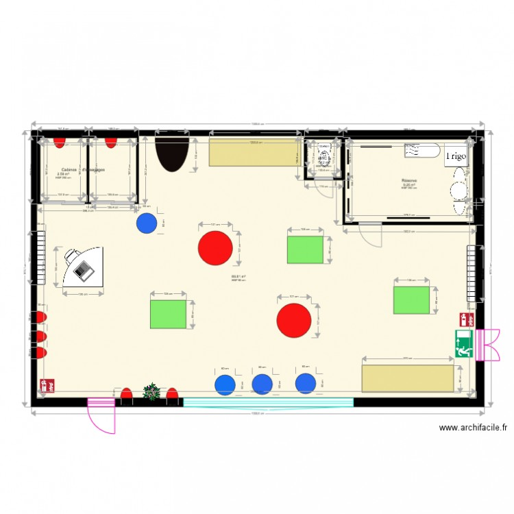 Magasin v tement wendy 18 plan 4 pi ces 103 m2 dessin for Plan d agencement