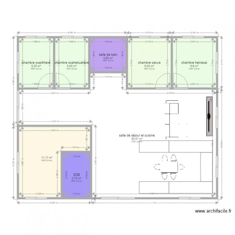 Plan maison manea plan 8 pi ces 92 m2 dessin par vaihere for Taille moyenne maison