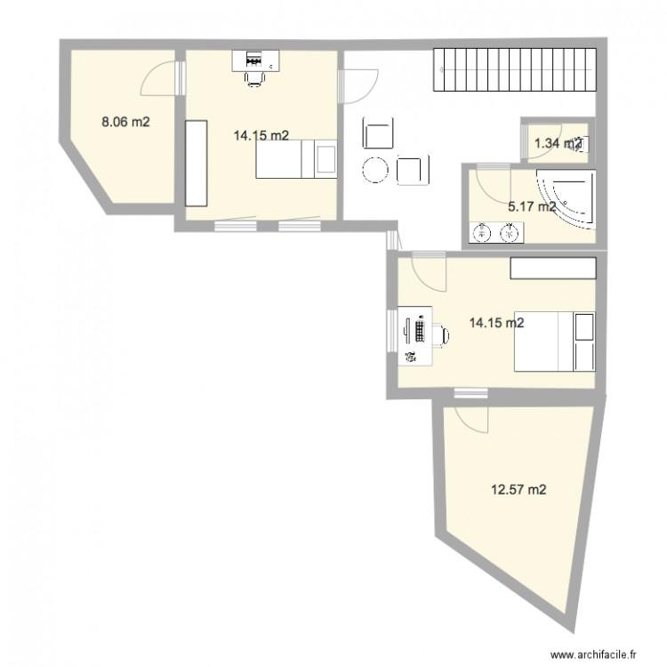 maison nanterre 1er tage 1bis plan 6 pi ces 55 m2 dessin par csaunier. Black Bedroom Furniture Sets. Home Design Ideas