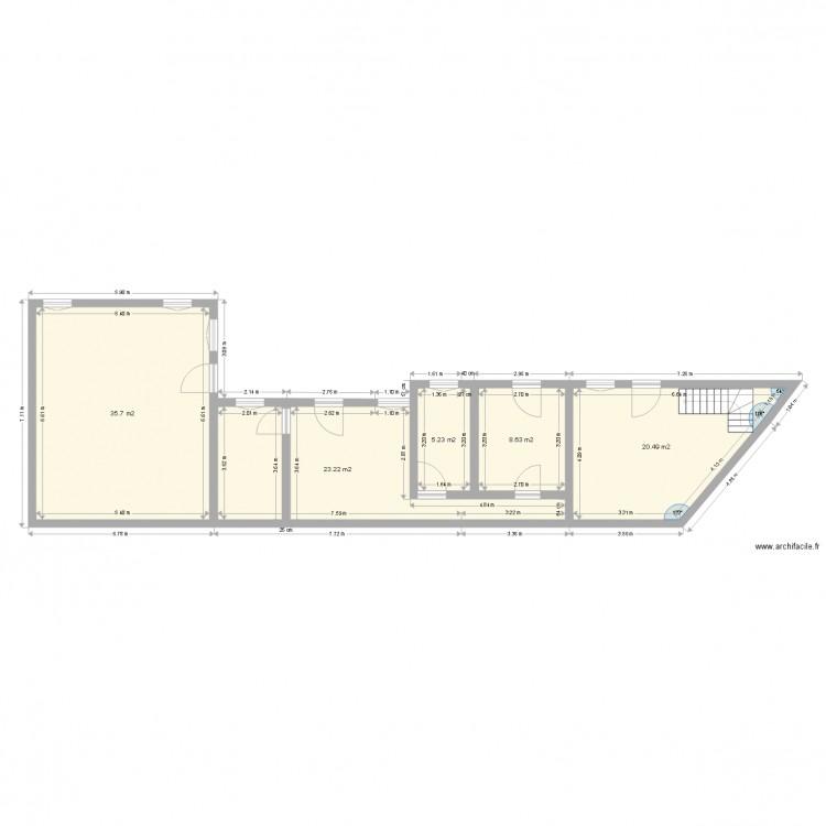Rez de chaussais plan 5 pi ces 93 m2 dessin par maison for Plan de maison 5 pieces