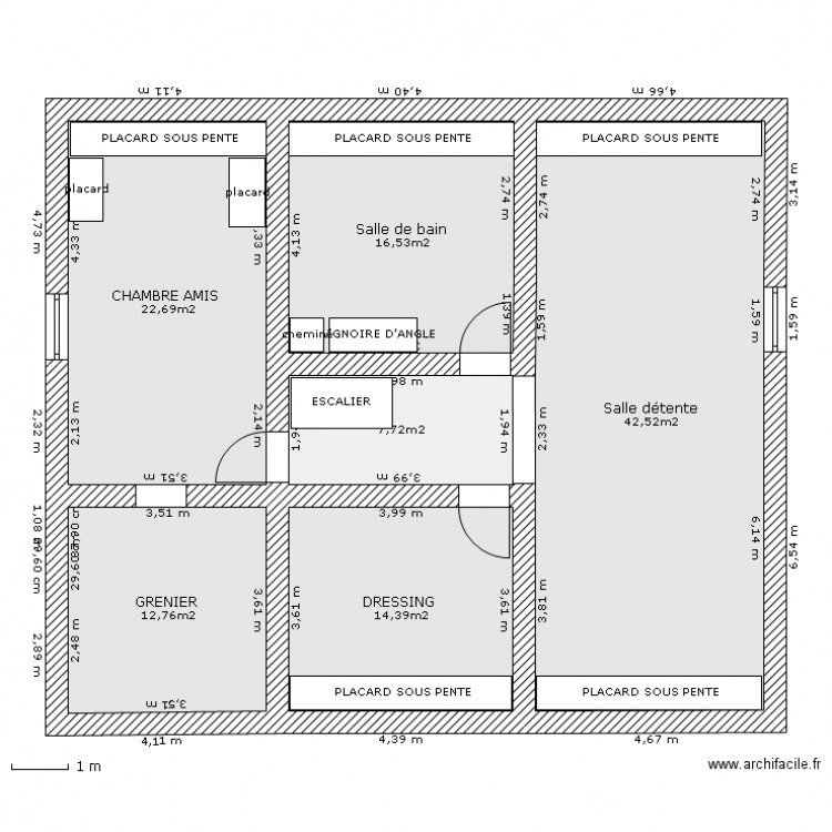 Amenagement combles 3 plan 6 pi ces 117 m2 dessin par cdar - Plan d amenagement de combles ...
