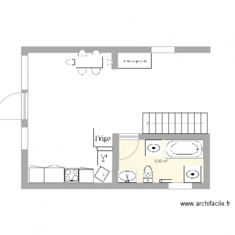 salle de bain plan 1 pi ce 6 m2 dessin par marjolainerivard. Black Bedroom Furniture Sets. Home Design Ideas