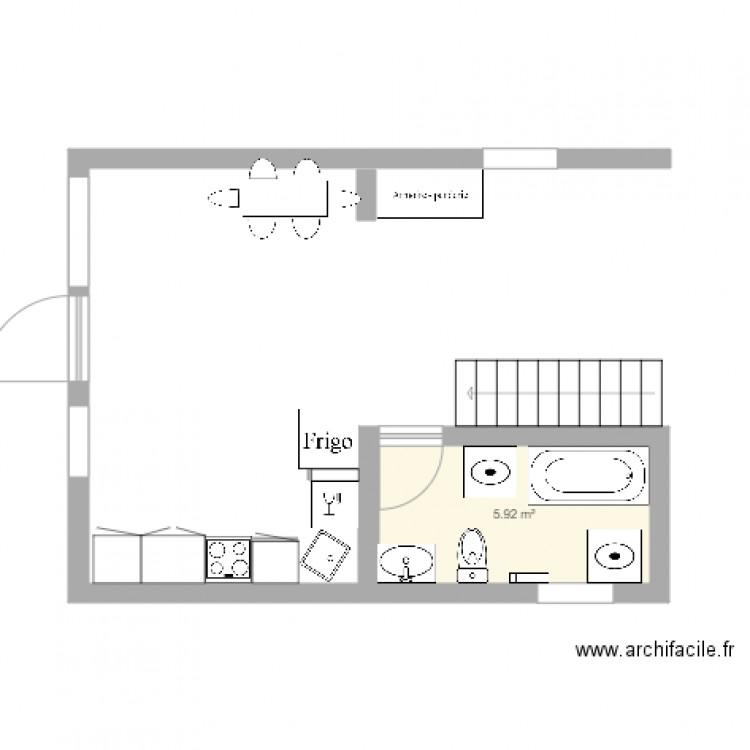 salle de bain plan 1 pi ce 6 m2 dessin par marjolainerivard. Black Bedroom Furniture Sets. Home Design Ideas