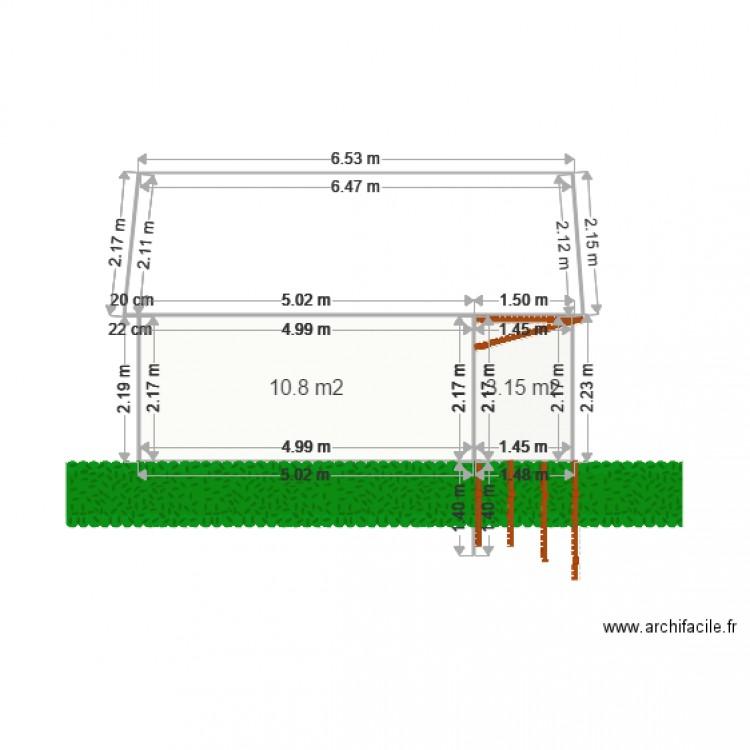 fa ade 1 grange du qumont plan 2 pi ces 14 m2 dessin par ferroud. Black Bedroom Furniture Sets. Home Design Ideas