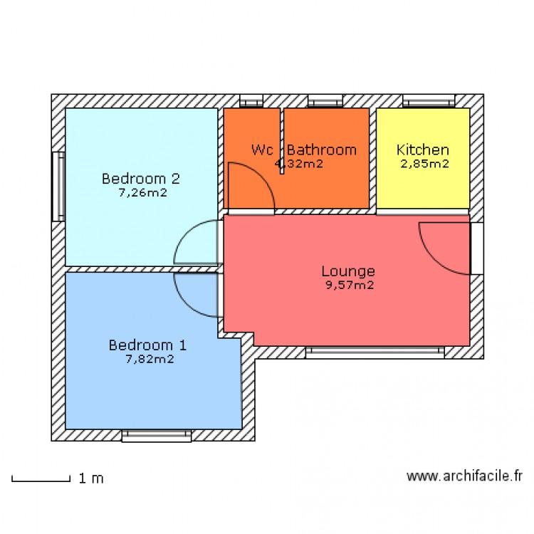 Maison t3 42m environ plan 5 pi ces 32 m2 dessin par for Taille moyenne maison