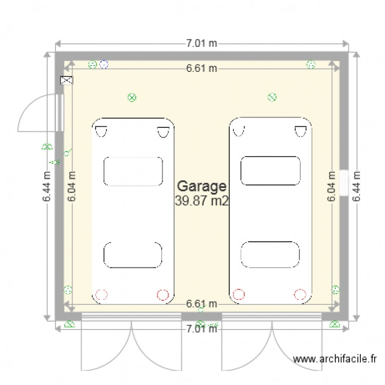double garage atelier plan 1 pi ce 40 m2 dessin par titou pacas. Black Bedroom Furniture Sets. Home Design Ideas