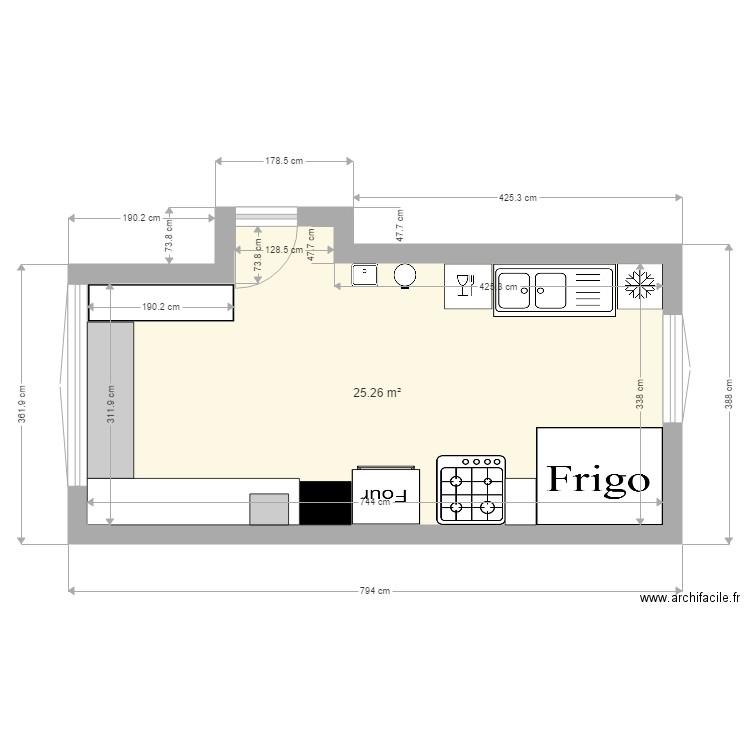 cuisine pro bon bon plan 1 pi ce 25 m2 dessin par ldelahaut. Black Bedroom Furniture Sets. Home Design Ideas