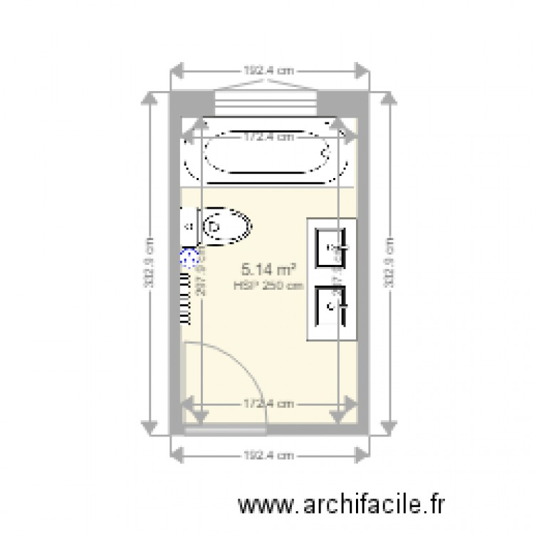 salle de bain mendes plan 1 pi ce 5 m2 dessin par d. Black Bedroom Furniture Sets. Home Design Ideas