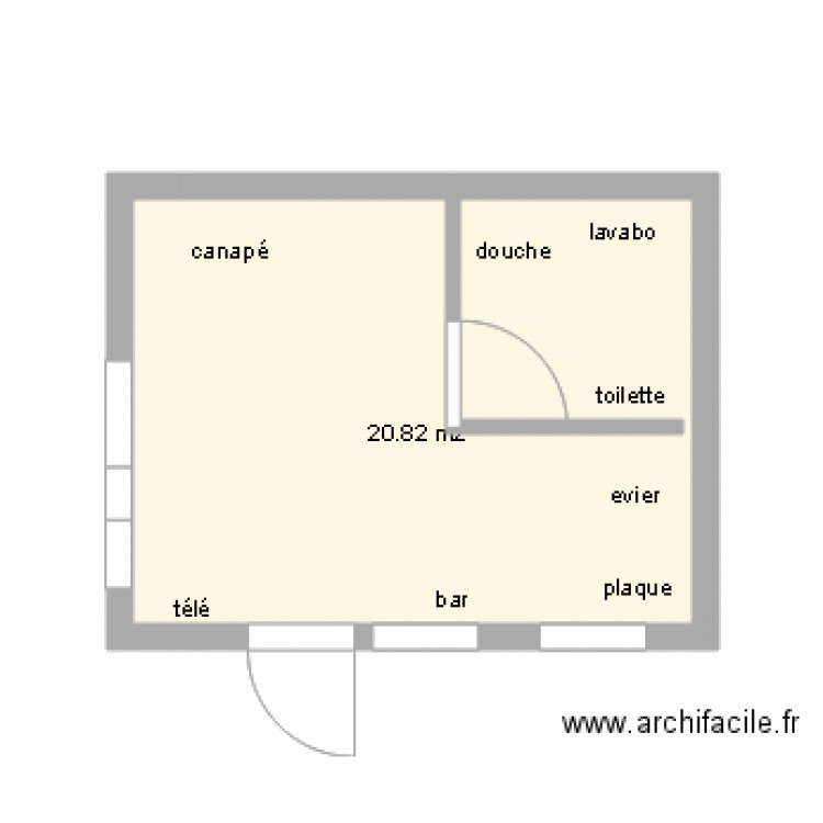 studio 20m2 plan 1 pi ce 21 m2 dessin par derdichter. Black Bedroom Furniture Sets. Home Design Ideas