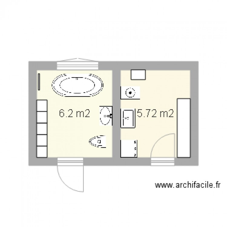 plans travaux buanderie salle de bains plan 2 pi ces 12 m2 dessin par girard dominique. Black Bedroom Furniture Sets. Home Design Ideas