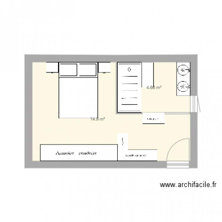 suite parentale plan 2 pi ces 20 m2 dessin par valcollomb. Black Bedroom Furniture Sets. Home Design Ideas