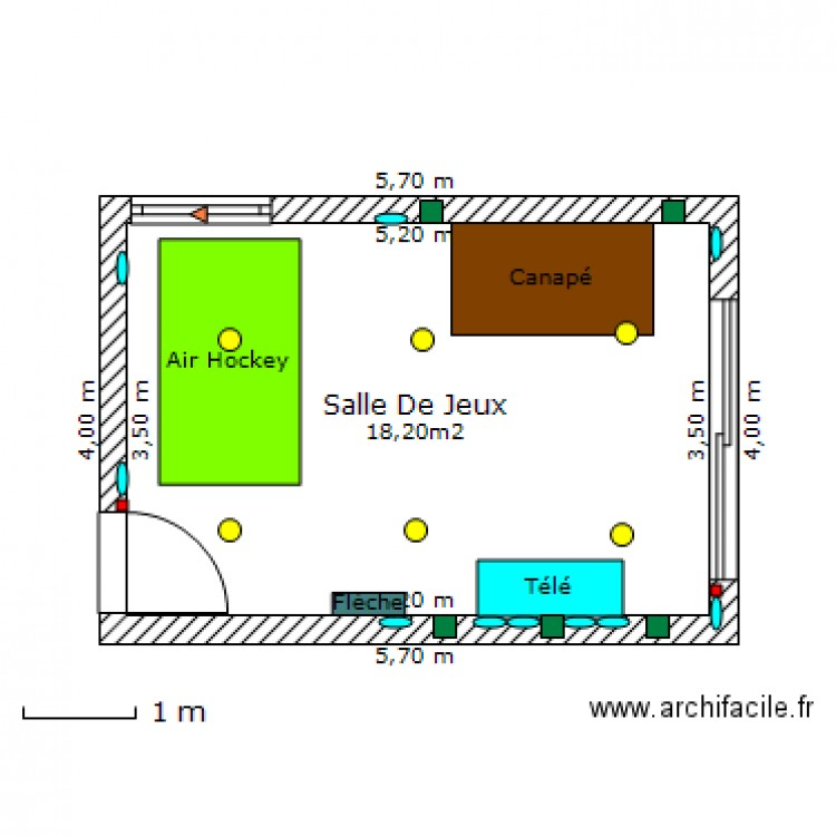 salle de jeux plan 1 pi ce 18 m2 dessin par youmha. Black Bedroom Furniture Sets. Home Design Ideas