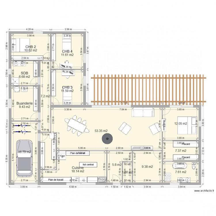 plan maison plain pied 190m2