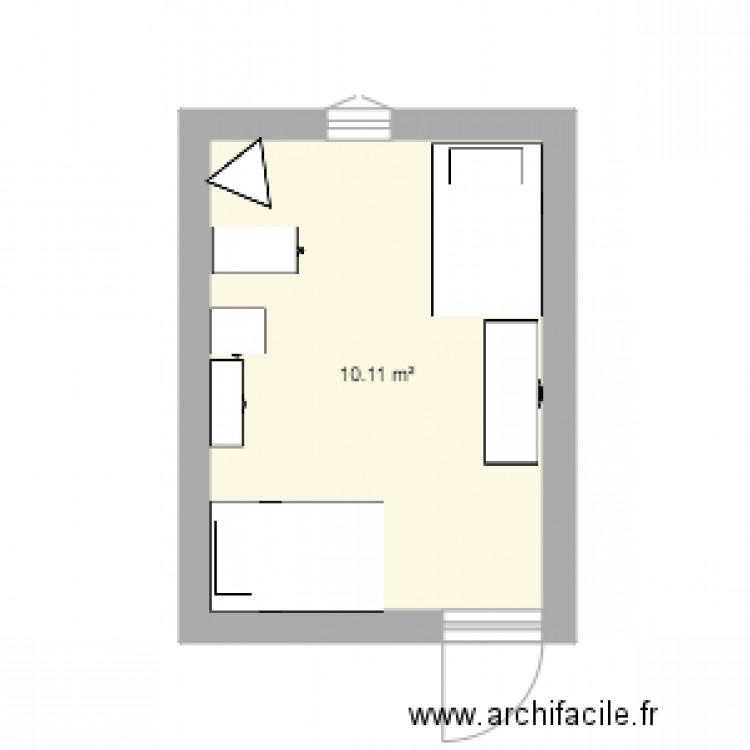 Chambre fllles2 plan 1 pi ce 10 m2 dessin par jbenasra for Chambre one piece