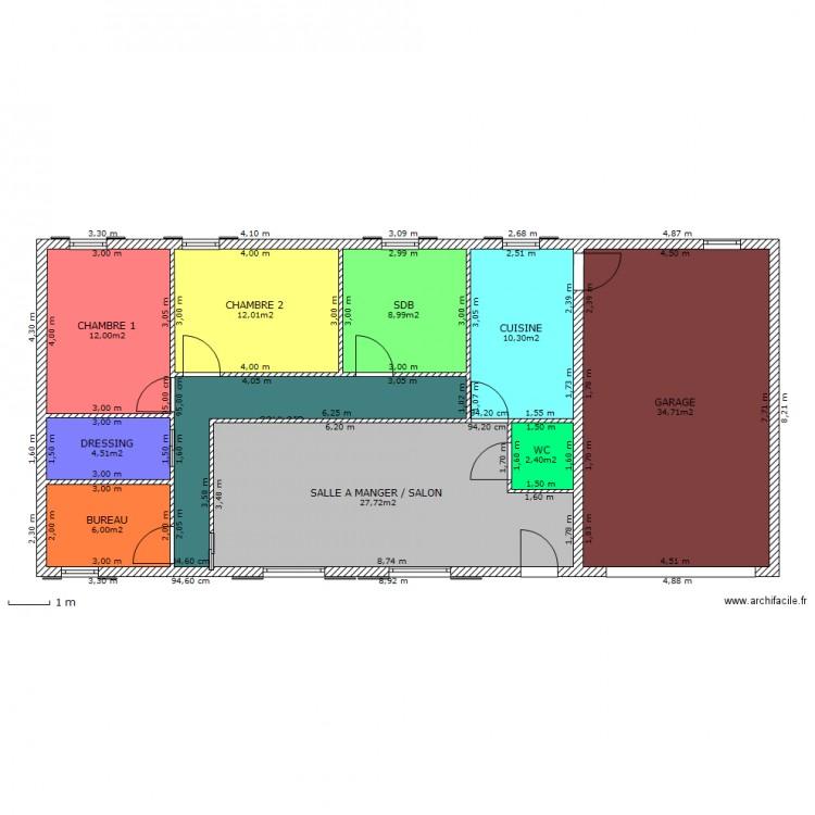 maison plain pied 95m2 plan 10 pi ces 129 m2 dessin par