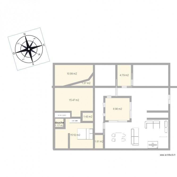 Plain pied avec patio plan 9 pi ces 62 m2 dessin par yunus1 for Dessiner plan patio