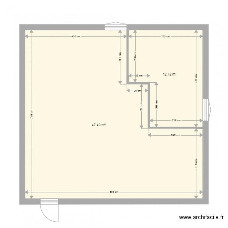 maison plan 2 pi ces 60 m2 dessin par dav1. Black Bedroom Furniture Sets. Home Design Ideas