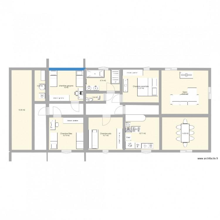 projet maison 4 chambres 1 chambre part plan 11 pi ces 114 m2 dessin par chapouta. Black Bedroom Furniture Sets. Home Design Ideas