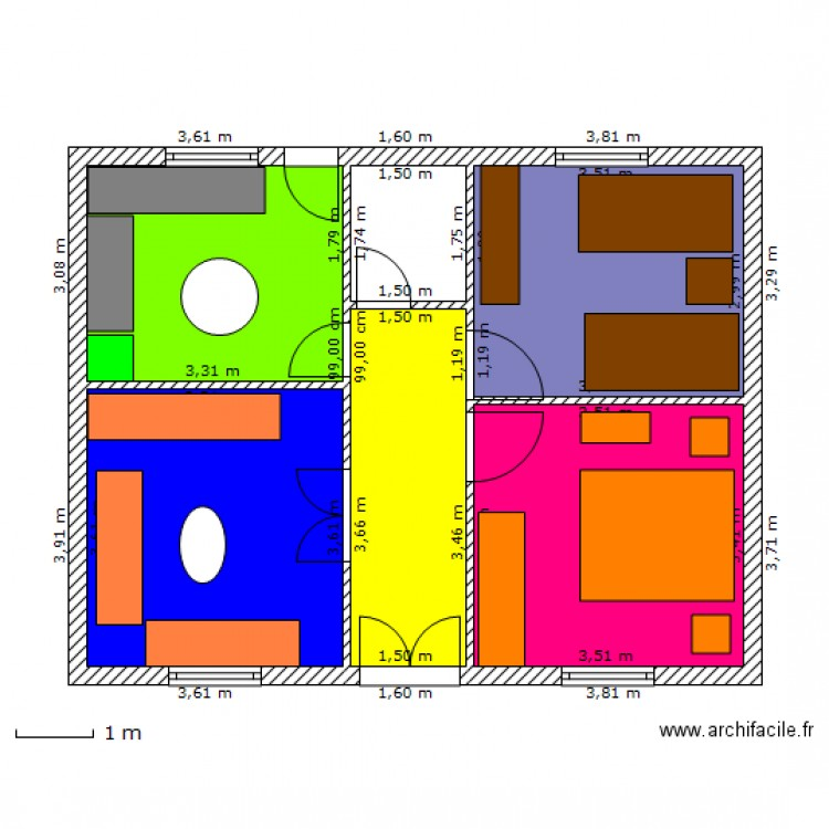 plan maison 54m2