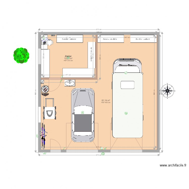 garage op am nag plan 2 pi ces 74 m2 dessin par ollive. Black Bedroom Furniture Sets. Home Design Ideas